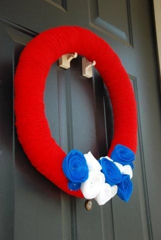 July 4th Yarn Wreath