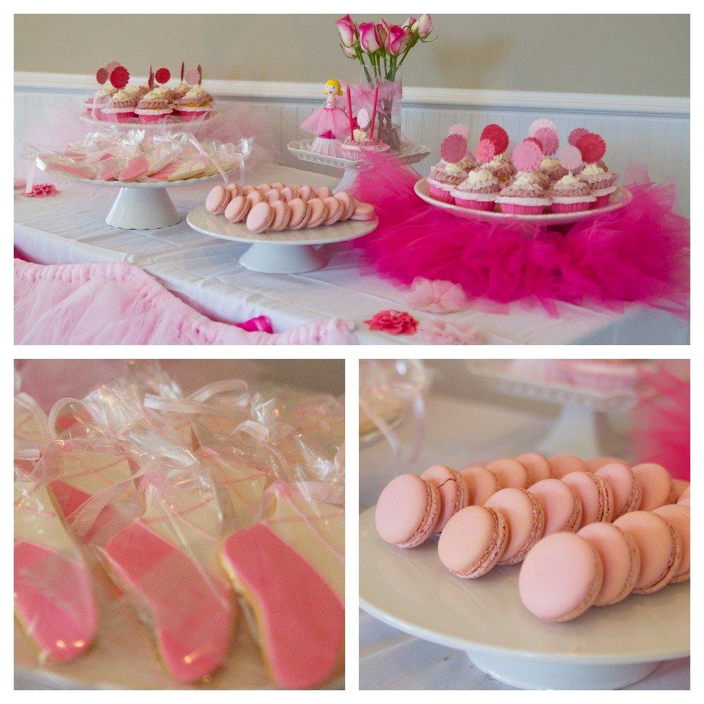 ballerina birthday dessert table collage