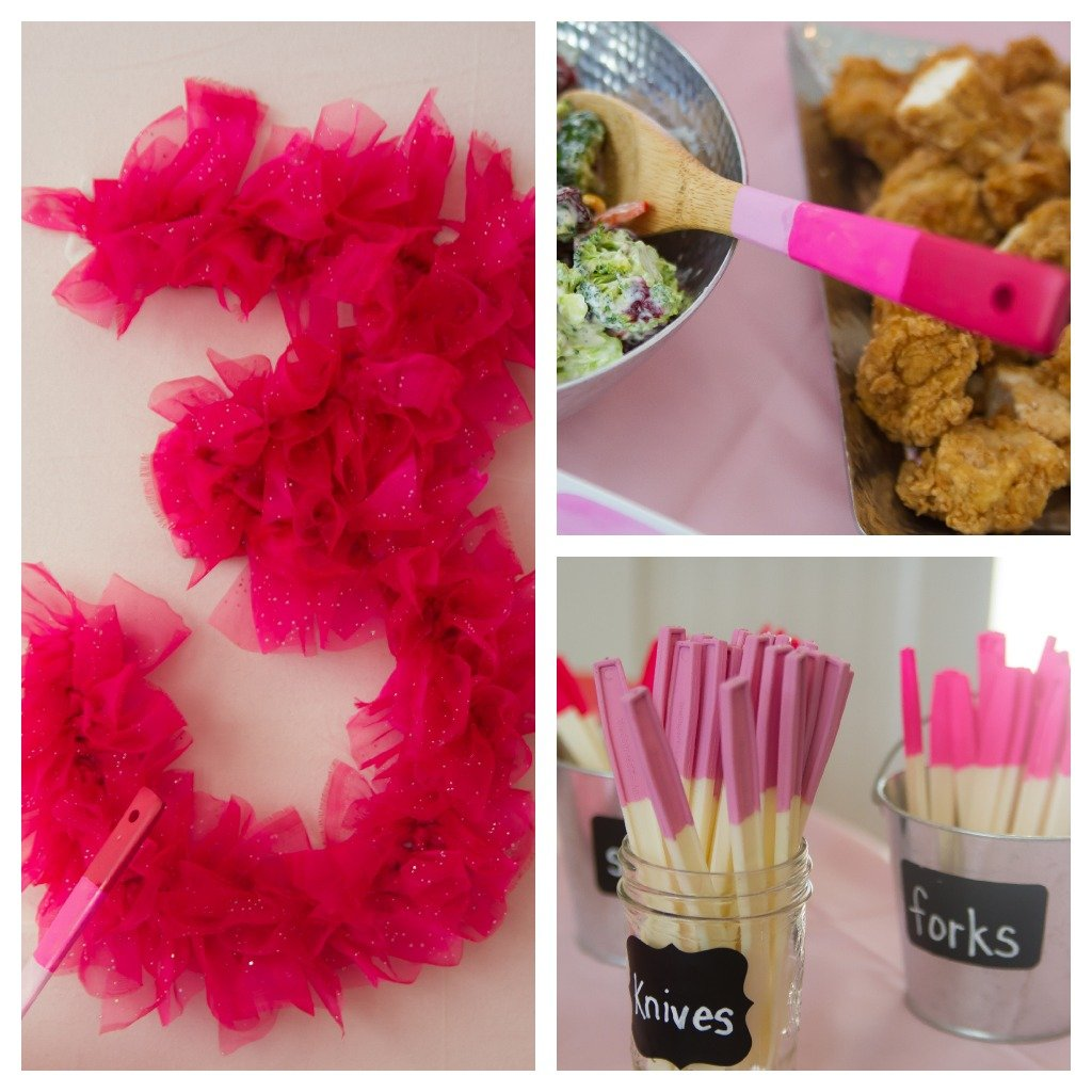 ballerina party food table collage