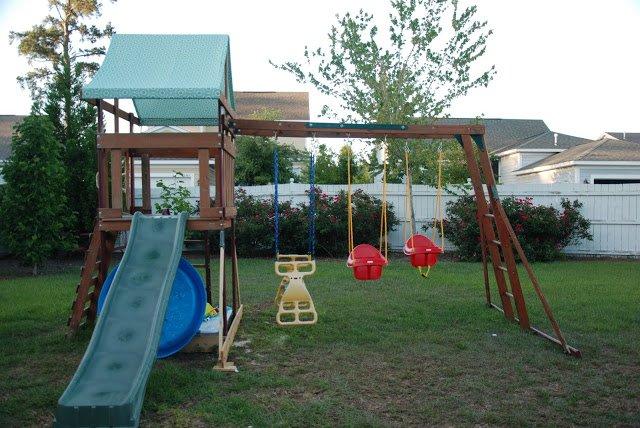 backyard swing set makeover
