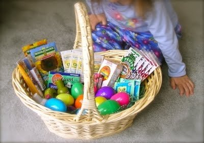 easter basket with seeds