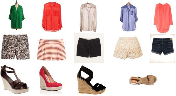 Summer Clothing Obsession: Blouse, Shorts, Wedges