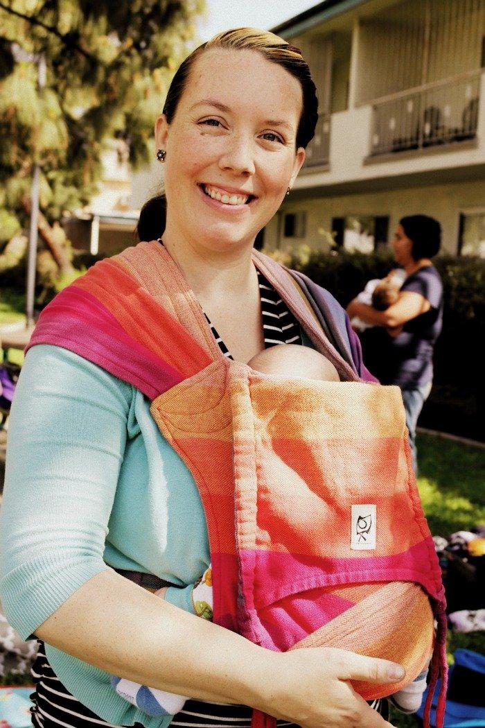 Laura Brown in an ObiMama Mei Tai