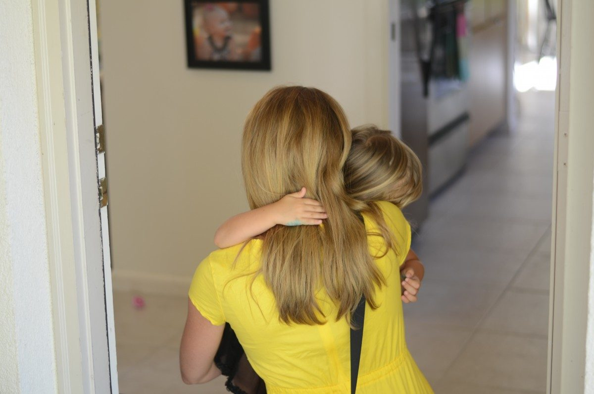 what to say when your kid is begging you not to leave and go to work.
